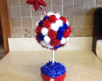 Patriotic Topiary. 4th of July Topiary. Pom Pom Topiary. Handmade Patriotic Topiary