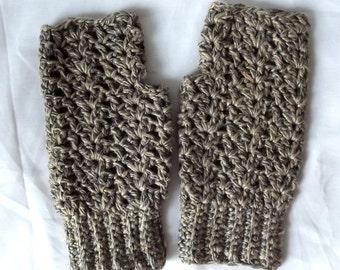 Crochet Fingerless Gloves Texting Gloves Gray Tan Boho Shabby Chic Lacy Natural Acrylic Rayon Fiber