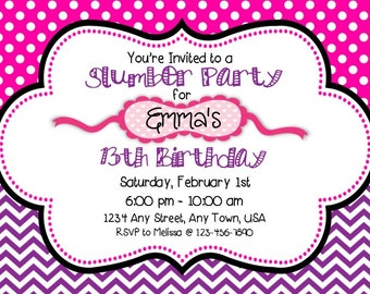 Slumber Party Invitation - Pink and Purple