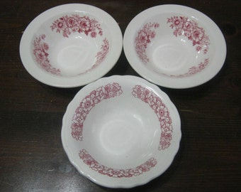 Homer Laughlin China - Best China - Vintage Dessert Bowls - Set of 3 - Shabby Chic - Country - Cottage