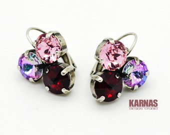 SENSATIONAL CYCLAMEN 8mm 3-stone Crystal Chaton Earrings Made With Swarovski Elements *Antique Silver *Karnas Design Studio *Free Shipping*