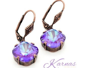 ULTRA PURPLE AB 12mm Cushion Cut Dangle Leverback Earrings Swarovski Elements *Pick Your Finish *Karnas Design Studio *Free Shipping*