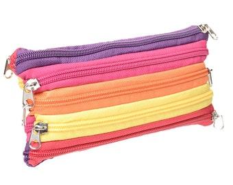 multi zipper multi color zipper case