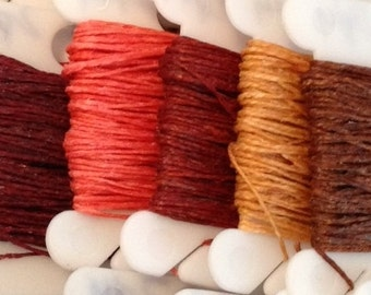 2 ply 5 - 190 yards Waxed Irish Linen Crawford Cord Red Maroon Salmon Rust Butterscotch Walnut Brown