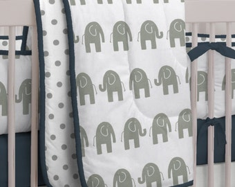 Boy Baby Crib Bedding: Navy and Gray Elephants Crib Comforter by Carousel Designs