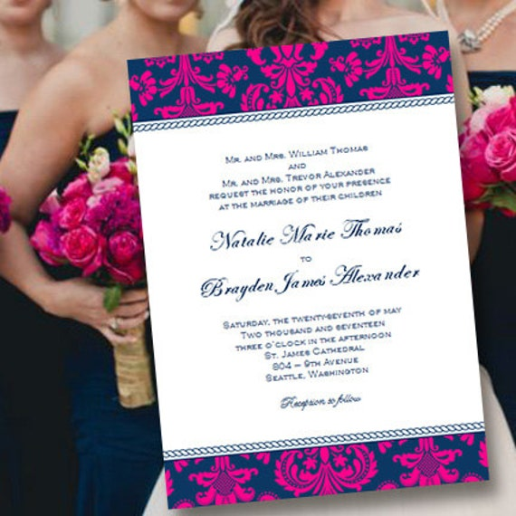 Printable Wedding Invitation Template Damask Navy – Word Document Invitation Template