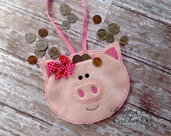 ITH Felt Piggy Bank Embroidery Design