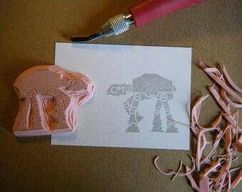 Star Wars AT AT Walker Hand Carved Rubber Stamp