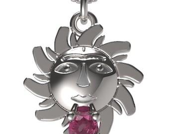 "925 Sterling Silver Sun Pendant &18"" Necklace Birthstone January Garnet"