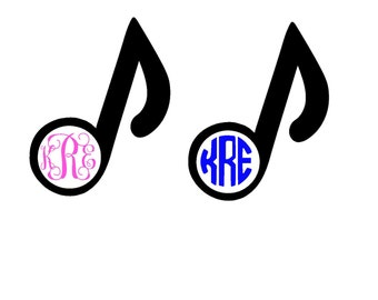 Eighth note monogrammed decal