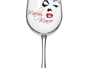 Hand painted Marilyn Monroe wine glass