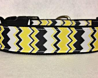 Charlie Brown Yellow, White and Black Chevron Dog Collar