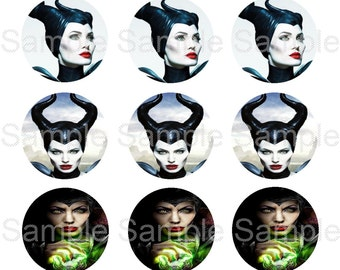 "Set of 15 - 1"" Precut Bottle Cap Circle Images - Maleficent Inspired"
