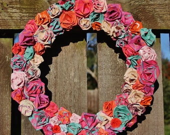 Coloured Paper Rose Wreath