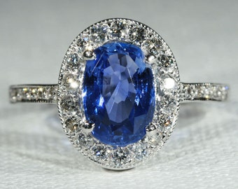 Vintage 1.25ct Sapphire and Diamond 18k White Gold Ring