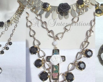 Vintage style bronze coloured layered necklace with roses, diamantes, and cross