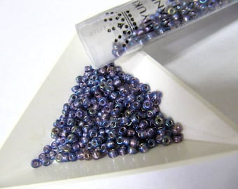 Miyuki Size 8, Glass Seed Beads, 22 Gram Tube, Amethyst AB, Silver Lined, Round, Japanese, Wire Wrapping, Bead Stringing, Bead Embroidery