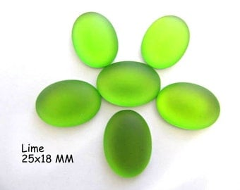 Cabochon, Luna Soft, 25x18MM, Lime, Oval, Wire wrapping, Bead Embroidery, Bright Colors, Neon Color, Glow