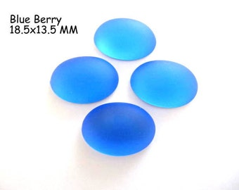 Cabochon, Luna Soft, 18.5 x 13.5 MM, Blue Berry, Oval, Wire wrapping, Bead Embroidery, Bright Colors, Neon Color, Glow