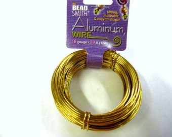 Aluminum Wire 18 Gauge Round Wire, Gold, 39 Feet, Beadsmith, Craft Wire, Strong, Malleable, Easy to Shape