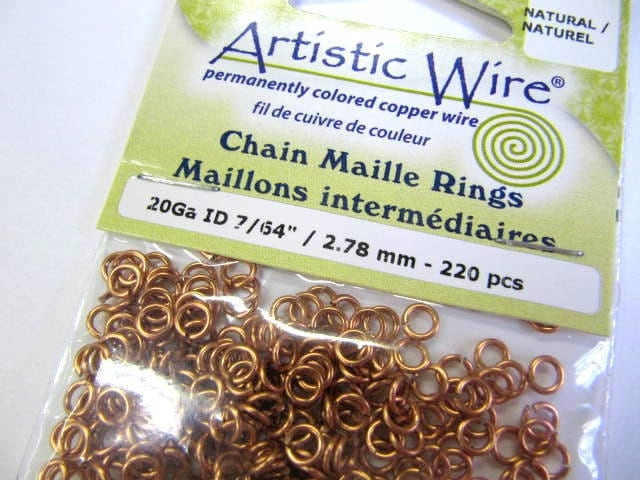 "Jump Rings, Copper, 20 Gauge, 7/64"" ID, 2.78 MM OD, 220 Pieces, Bracelet, Necklace, Chain Maille Projects, Jump Ring"