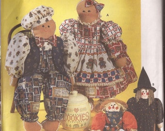 "Simplicity 7345 31"" Gingerbread, Scarecrow and Witch  Doll Pattern"