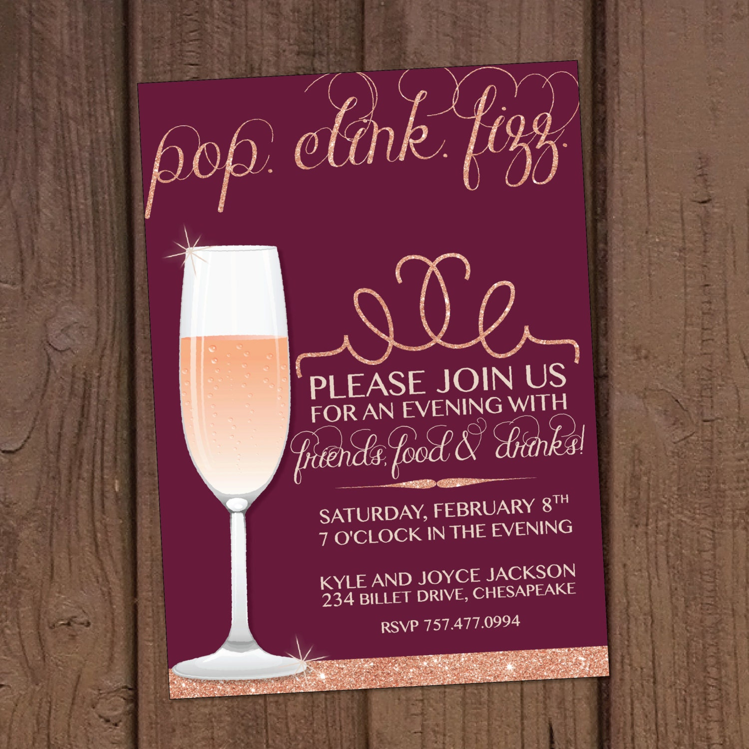 Champagne Cocktail/Dinner Party Invitation