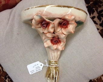 Vintage Porcelain Wall Sconce - Roses