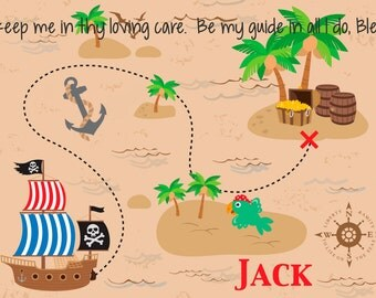 Personalized Placemat - Kids Placemat - Childrens Placemat - Childs Placemat - Laminated Placemat - Christening Gift - Pirate