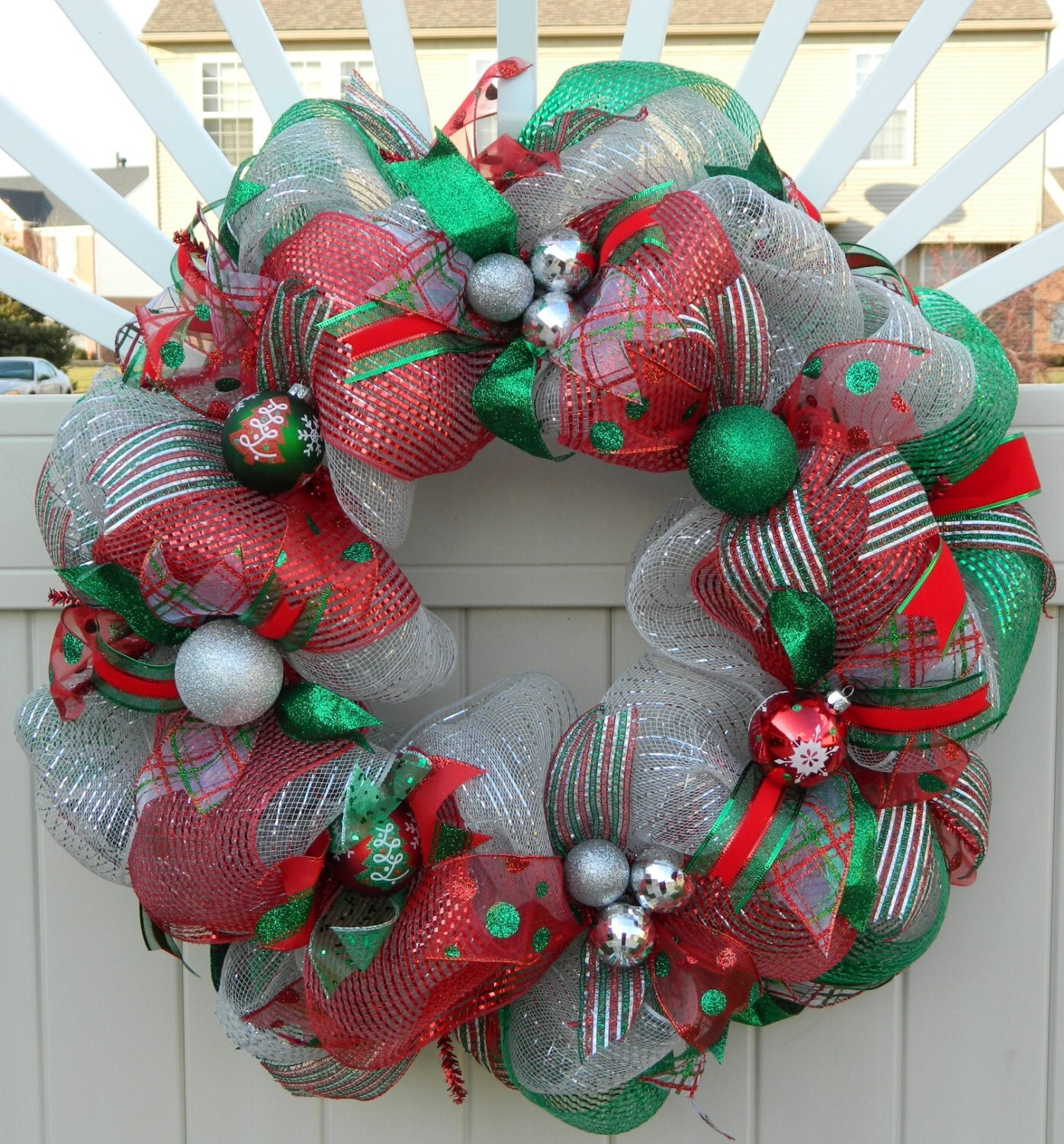 Deco Mesh Christmas Wreath Silver Red Green by WhatsOnYourDoor