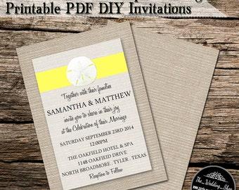 "5"" x 7"" Yellow Sand Dollar On Burlap Beach Printable DIY Wedding Invitation PDF With Editable Text"