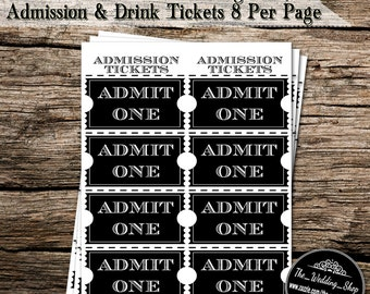 Instant Digital Download- Printable PDF DIY Wedding Party Admission & Free Drink Tickets 8 Per Page