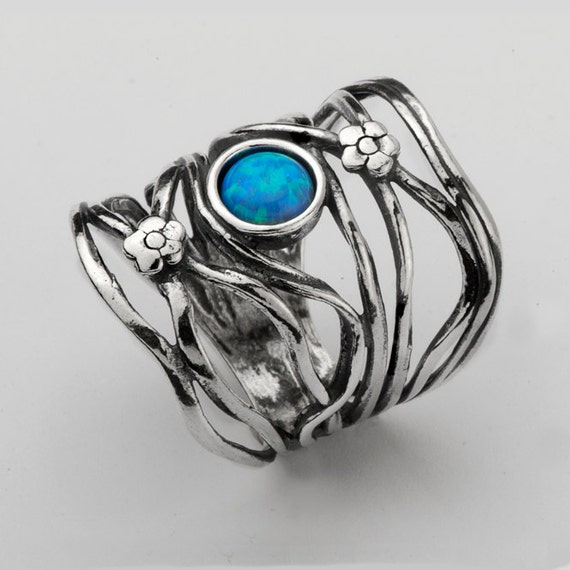 Australian Opal Ring - Crystal Opal and Tanzanite - Sterling Silver