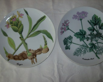 Horchow collector plates , six different plates showing herbs, beautiful detail