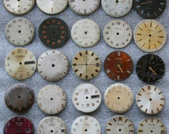 Set of 25 Vintage Soviet  Watch Faces  , steampunk, steampunk parts