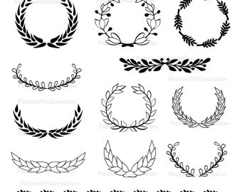 Laurel clip art | Etsy