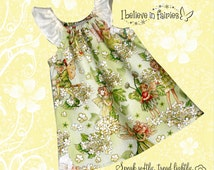 Morning Fairy Garden Apple Dress. Peasant Dress in sizes 12 months to 3 years. birthday or special event dress.