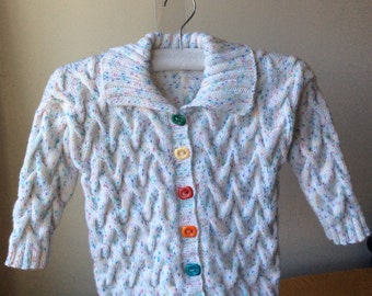 Knit Toddler Sweater in White READY TO SHIP Size 2 - 3 years old