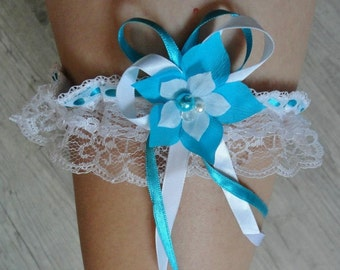 Jarretiére de mariée blanche Garter wedding evening turquoise silk flower white pearl