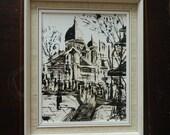 Vintage Oil Painting Paris Street Scene Montmartre Signed