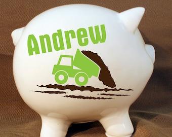 "8"" Dump Truck Style Personalized Piggy Bank - Boys Custom Bank, Tractor Piggy Bank, Boys Birthday Gift, Baptism Present"
