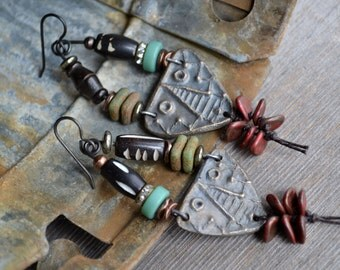 Tribal mask earrings / Steel carved mask and bone African recycled glass native inspired / Relic ancient tribal mask symbolic native motif