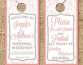 Wedding Door Hangers Do not disturb signs Guest Bags