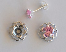 Pink Silver Post Earring Set Includes Pink Cubic Zirconia Posts and Silver Flower Style Earring Jacket