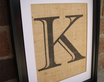 Burlap Monogram , Burlap Monogram Print Single Letter Imprinted Shadow Font , Burlap Wall Art