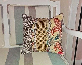 Cushion Cover - 1 x Mixed Print Neutral and Red Floral