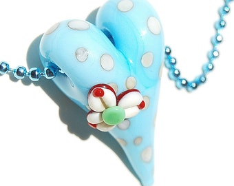 Handmade Lampwork Glass 3D Focal Bead - flower lampwork bead - 1 Focal Heart
