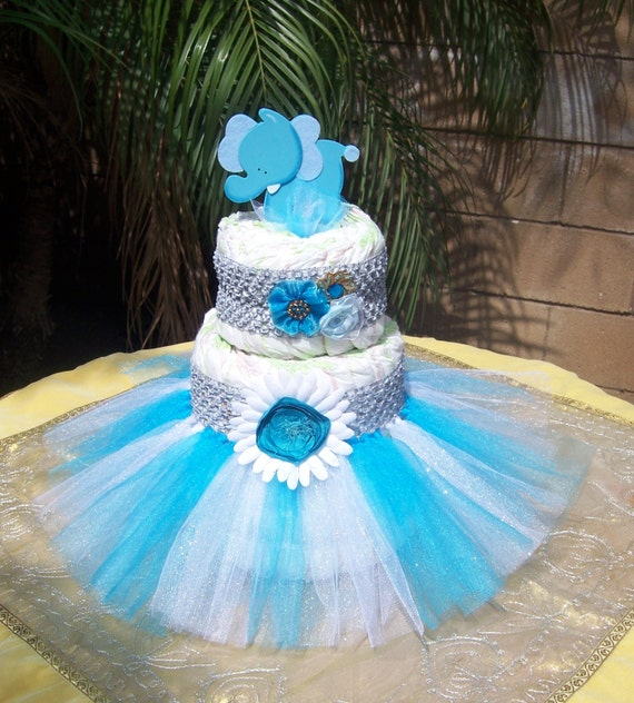Diaper Cake Decorating Kit : Items similar to Tutu Diaper Cake Kit - AQUA*GREY*ELEPHANT ...