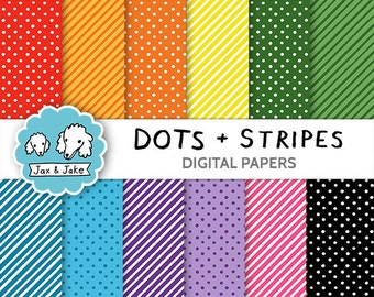 Dots and Stripes Digital Papers for Personal and Commercial Use