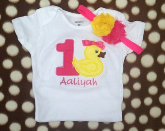 Hot pink and yellow rubber ducky birthday shirt - 1st birthday shirt and headband - personalized birthday shirt